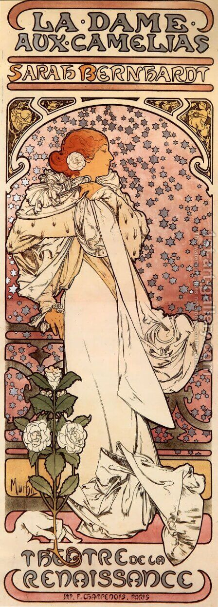 La Dame Aux Camelias by Alphonse Maria Mucha - Reproduction Oil Painting
