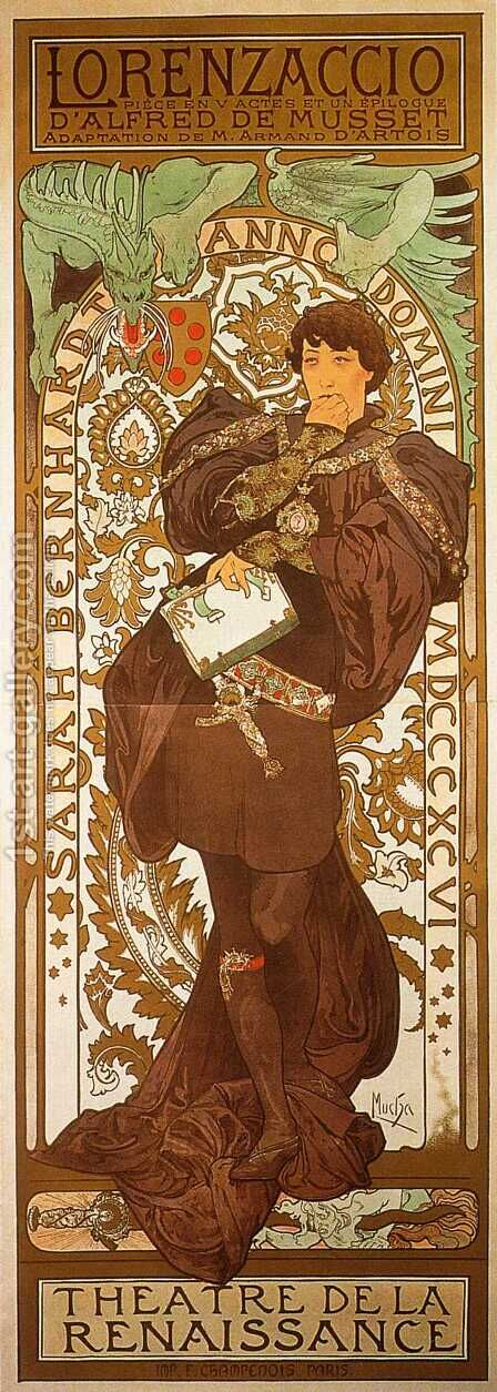 Lorenzaccio by Alphonse Maria Mucha - Reproduction Oil Painting