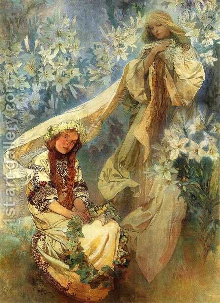 Madonna Of The Lilies by Alphonse Maria Mucha - Reproduction Oil Painting