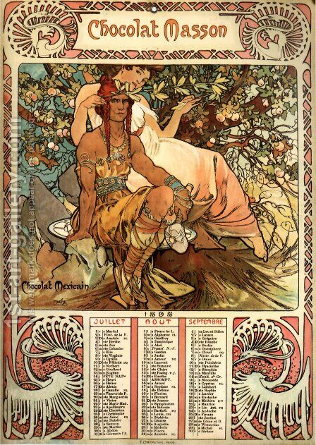 Manhood Calendar by Alphonse Maria Mucha - Reproduction Oil Painting