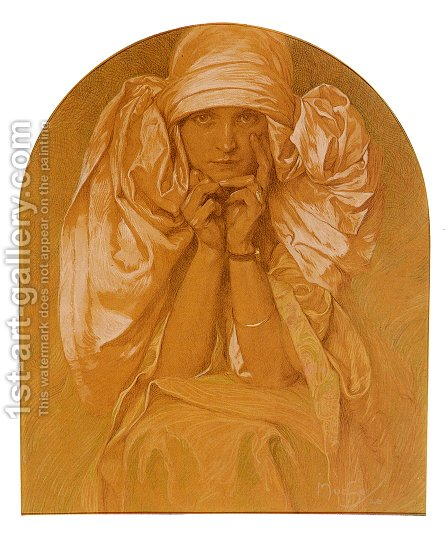 Portrait Of The Artists Daughter Jaroslava by Alphonse Maria Mucha - Reproduction Oil Painting