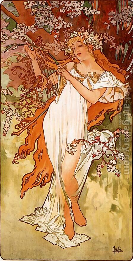Spring by Alphonse Maria Mucha - Reproduction Oil Painting