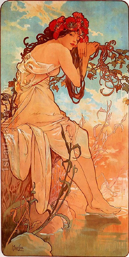 Summer by Alphonse Maria Mucha - Reproduction Oil Painting