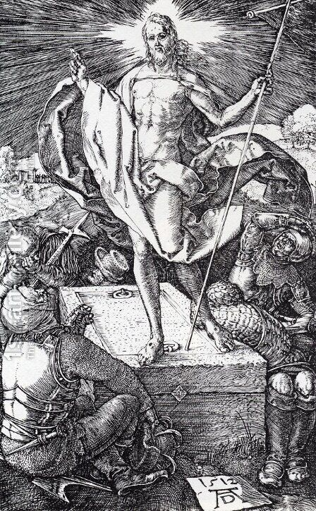 Resurrection (Engraved Passion) by Albrecht Durer - Reproduction Oil Painting