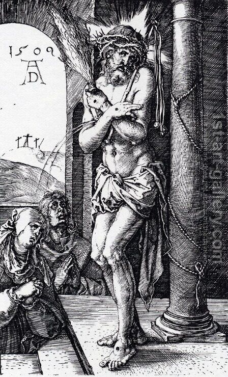Man Of Sorrows By The Column (Engraved Passion) by Albrecht Durer - Reproduction Oil Painting