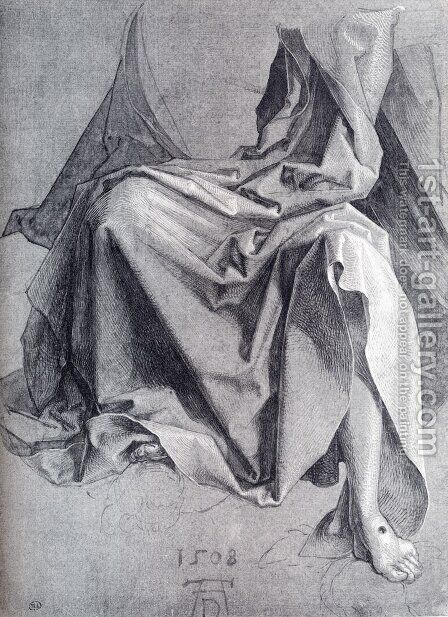 Study Of Drapery 1508 Drawing by Albrecht Durer - Reproduction Oil Painting