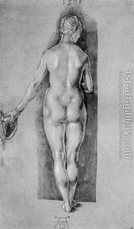 Rear View Of A Female Nude Holding A Cap by Albrecht Durer - Reproduction Oil Painting