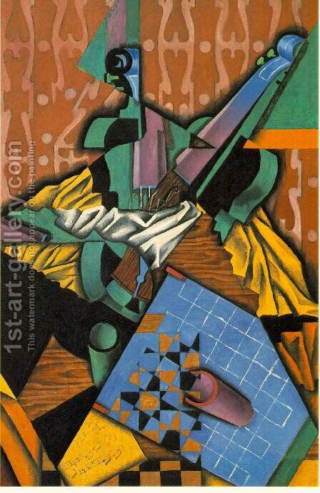 Violin And Checkerboard by Juan Gris - Reproduction Oil Painting