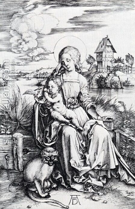 Madonna With The Monkey by Albrecht Durer - Reproduction Oil Painting