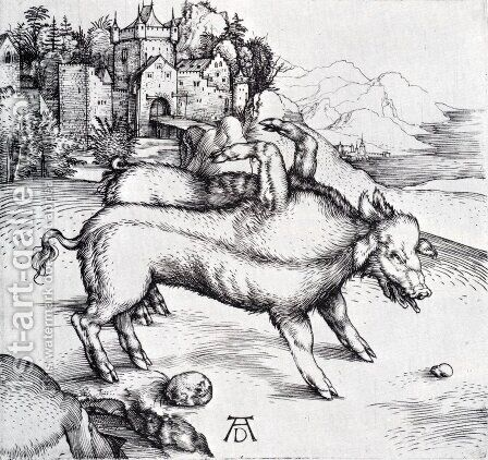 The Monstrous Sow Of Landser by Albrecht Durer - Reproduction Oil Painting