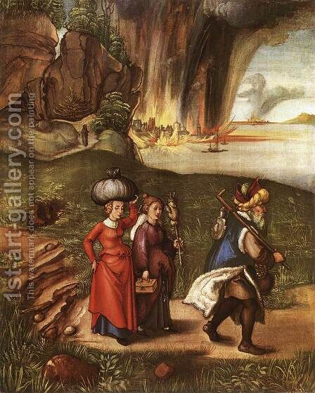 Lot Fleeing With His Daughters From Sodom by Albrecht Durer - Reproduction Oil Painting