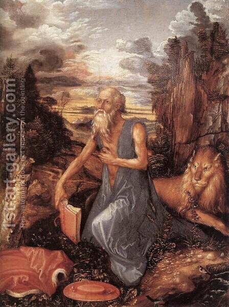 St Jerome In The Wilderness by Albrecht Durer - Reproduction Oil Painting