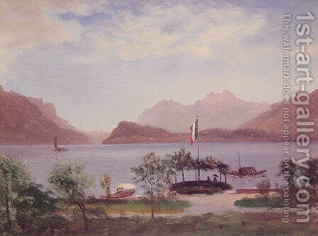 Italian Lake Scene by Albert Bierstadt - Reproduction Oil Painting