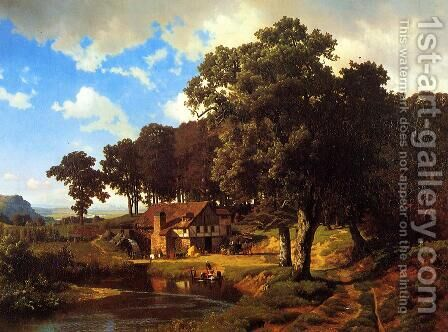 A Rustic Mill by Albert Bierstadt - Reproduction Oil Painting