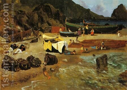 Fishing Boats At Capri by Albert Bierstadt - Reproduction Oil Painting
