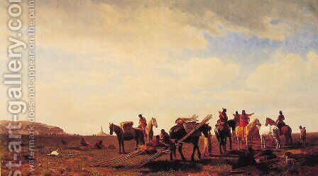 Indians Travelling Near Fort Laramie by Albert Bierstadt - Reproduction Oil Painting