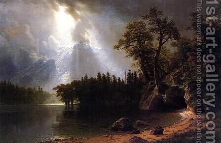 Passing Storm Over The Sierra Nevada by Albert Bierstadt - Reproduction Oil Painting