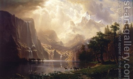 Among The Sierra Nevada Mountains  California by Albert Bierstadt - Reproduction Oil Painting