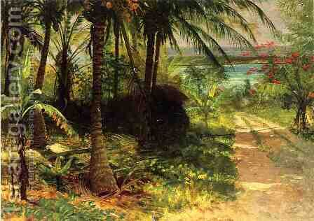 Tropical Landscape by Albert Bierstadt - Reproduction Oil Painting