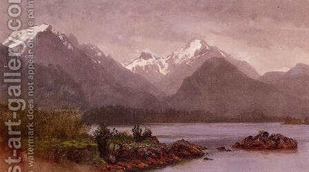 The Grand Tetons  Wyoming by Albert Bierstadt - Reproduction Oil Painting
