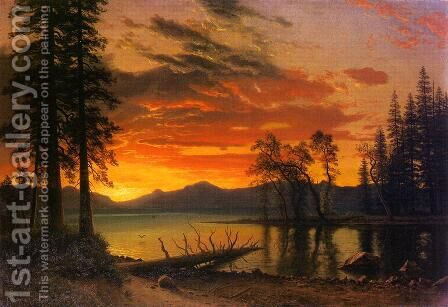 Sunset Over The River by Albert Bierstadt - Reproduction Oil Painting