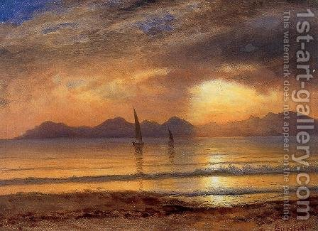 Sunset Over A Mountain Lake2 by Albert Bierstadt - Reproduction Oil Painting