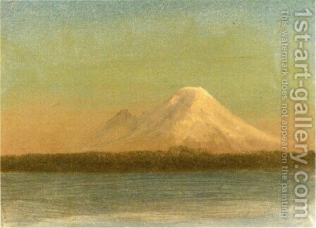 Snow Capped Moutain At Twilight by Albert Bierstadt - Reproduction Oil Painting