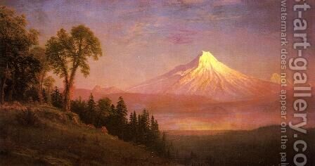 Mount St  Helens  Columbia River  Oregon by Albert Bierstadt - Reproduction Oil Painting