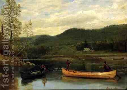 Men In Two Canoes by Albert Bierstadt - Reproduction Oil Painting