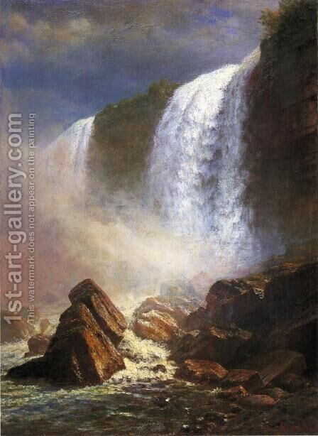 Falls Of Niagara From Below by Albert Bierstadt - Reproduction Oil Painting