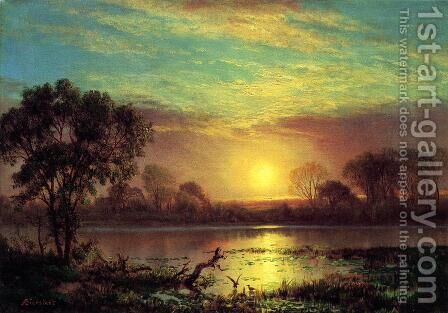 Evening  Owens Lake  California by Albert Bierstadt - Reproduction Oil Painting