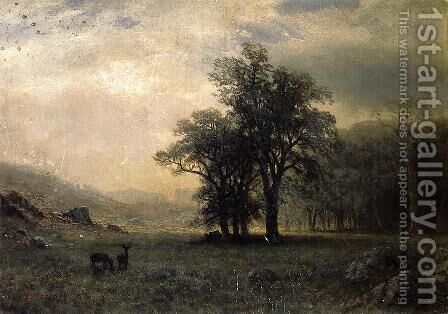 Deer In A Landscape by Albert Bierstadt - Reproduction Oil Painting