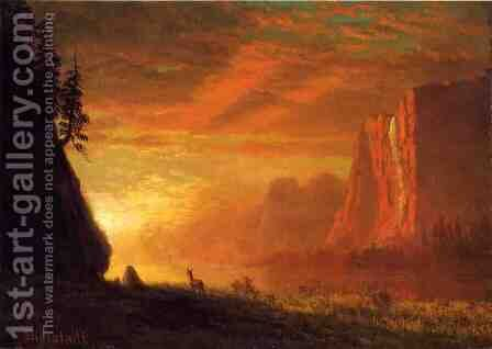 Deer At Sunset by Albert Bierstadt - Reproduction Oil Painting