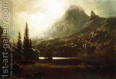 By A Mountain Lake by Albert Bierstadt - Reproduction Oil Painting