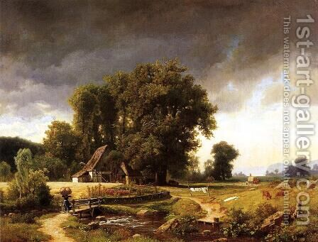 Westphalian Landscape by Albert Bierstadt - Reproduction Oil Painting