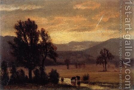 Landscape With Cattle by Albert Bierstadt - Reproduction Oil Painting