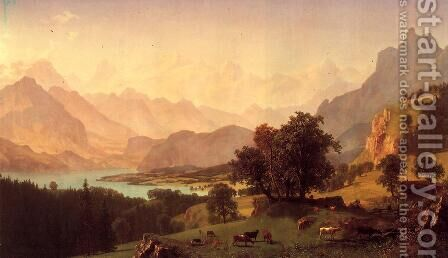 Bernese Alps  As Seen Near Kusmach by Albert Bierstadt - Reproduction Oil Painting