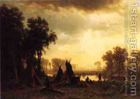 An Indian Encampment by Albert Bierstadt - Reproduction Oil Painting