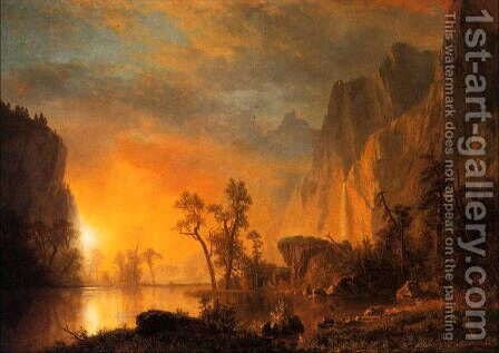Sunset In The Rockies by Albert Bierstadt - Reproduction Oil Painting