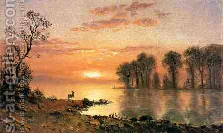 Sunset  Deer  And River by Albert Bierstadt - Reproduction Oil Painting