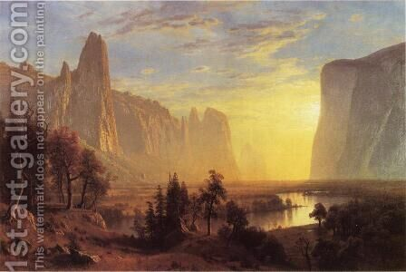 Yosemite Valley  Yellowstone Park by Albert Bierstadt - Reproduction Oil Painting
