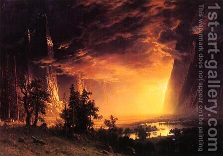 Sunset In The Yosemite Valley by Albert Bierstadt - Reproduction Oil Painting