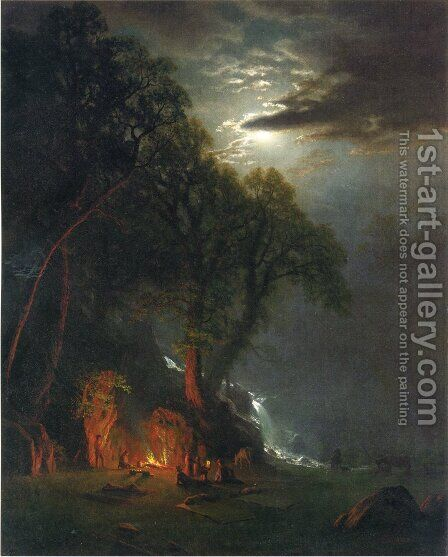 Campfire Site  Yosemite by Albert Bierstadt - Reproduction Oil Painting