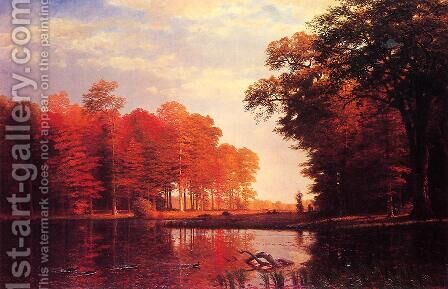 Autumn Woods by Albert Bierstadt - Reproduction Oil Painting