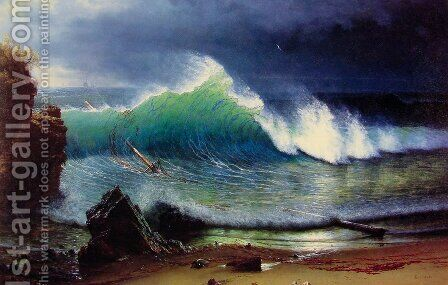 The Shore Of The Turquoise Sea by Albert Bierstadt - Reproduction Oil Painting