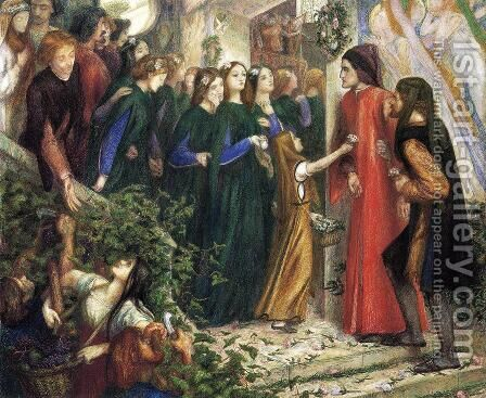 Beatrice  Meeting Dante At A Wedding Feast  Denies Him Her Salutation by Dante Gabriel Rossetti - Reproduction Oil Painting