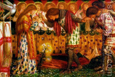 How Sir Galahad, Sir Bors and Sir Percival were Fed with the Sanc Grael; But Sir Percival's Sister Died by the Way 1864 by Dante Gabriel Rossetti - Reproduction Oil Painting