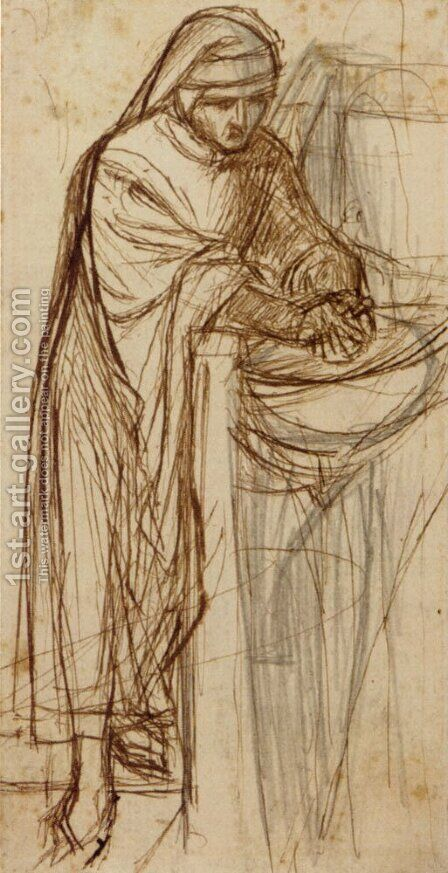 Sketch For Dante At Verona  With A Preliminary Study For The Principal Figure by Dante Gabriel Rossetti - Reproduction Oil Painting