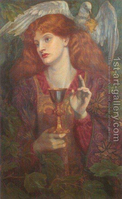 The Holy Grail by Dante Gabriel Rossetti - Reproduction Oil Painting