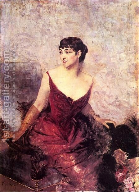 Countess De Rasty Seated In An Armchair by Giovanni Boldini - Reproduction Oil Painting